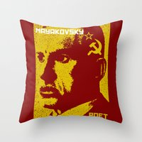 soviet Throw Pillows featuring Vladimir Mayakovsky, Soviet Poet by Adam Metzner