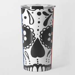 Mexican Skull With French Flag Travel Mug