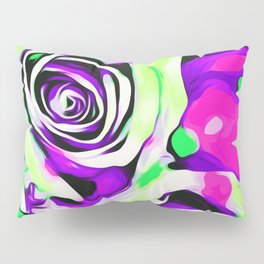 rose texture abstract in pink purple green Pillow Sham