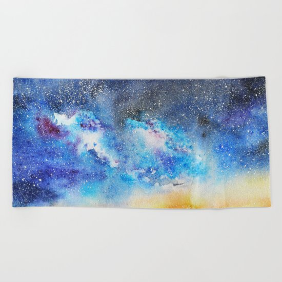 When night is falling || watercolor Beach Towel