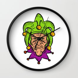 Medieval Court Jester Etching Color Wall Clock