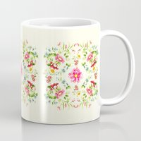 folk Mugs featuring folk floral by clemm