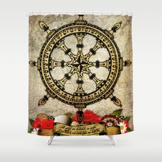 A Ship In Harbor Shower Curtain