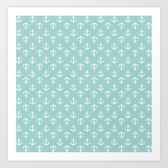 Mint Anchors Pattern Art Print