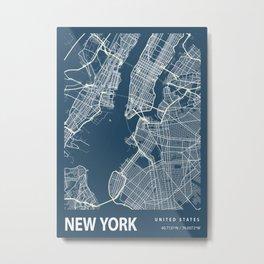 New York Blueprint Street Map, New York Colour Map Prints Metal Print