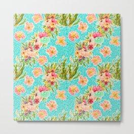 Pretty soft coloured floral pattern Metal Print