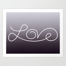 Love calligraphy print - Purple smoke gradient with white print Art Print