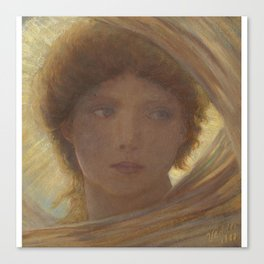 Elihu Vedder 1836 - 1923 PORTRAIT OF A YOUNG WOMAN Canvas Print