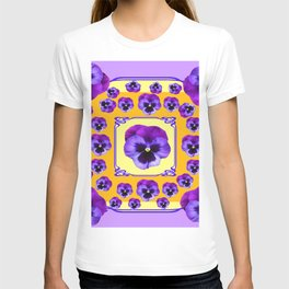 SPRING  PURPLE PANSY FLOWERS YELLOW GARDEN ART T-shirt