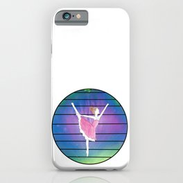 Ballerina in Abstract Colored Circle with Lines iPhone Case