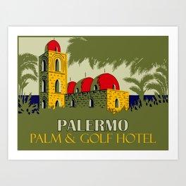Retro Palermo Sicily hotel travel ad Art Print