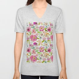 Elegant pink lavender green watercolor botanical floral Unisex V-Neck