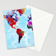 World Map - 3 Stationery Cards