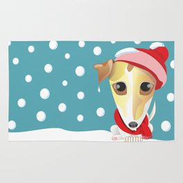 frozen jack russell with red scarf and red hat Rug