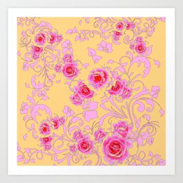 PINK-RED ROSE ABSTRACT FLORAL GARDEN ART Art Print