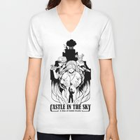 castle in the sky V-neck T-shirts featuring Castle in The Sky - 1 by LinhBR