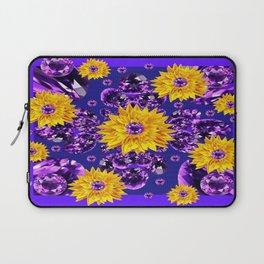 Glittering Amethyst Gems Jeweled Sunflower Rain Laptop Sleeve