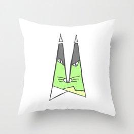 Green cat Throw Pillow