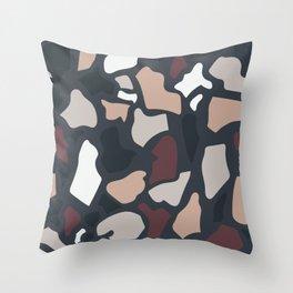 Abstract Terrazzo - Dark Neutrals Throw Pillow