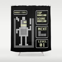 bender Shower Curtains featuring TETRIS: Robot Type by Josh Ln