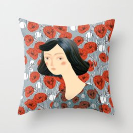 Girl on poppies Throw Pillow