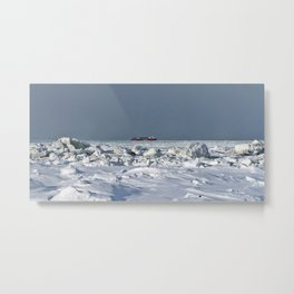 Freighter in the Ice Metal Print