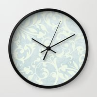 shabby chic Wall Clocks featuring Shabby Chic Damask by Miriam Hahn