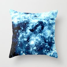 Ice Blue Galaxy Star Clusters Throw Pillow