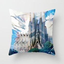 Blue & White Surreal Sagrada Família Throw Pillow