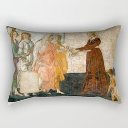 """Sandro Botticelli """"Venus and the Three Graces Presenting Gifts to a Young Woman"""" Rectangular Pillow"""
