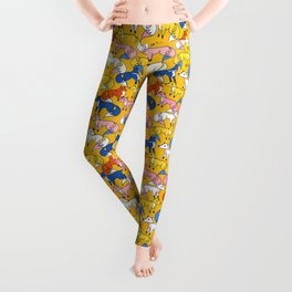 Colored foxes pattern - animals series Leggings