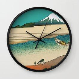 Tama River and Mount Fuji Wall Clock