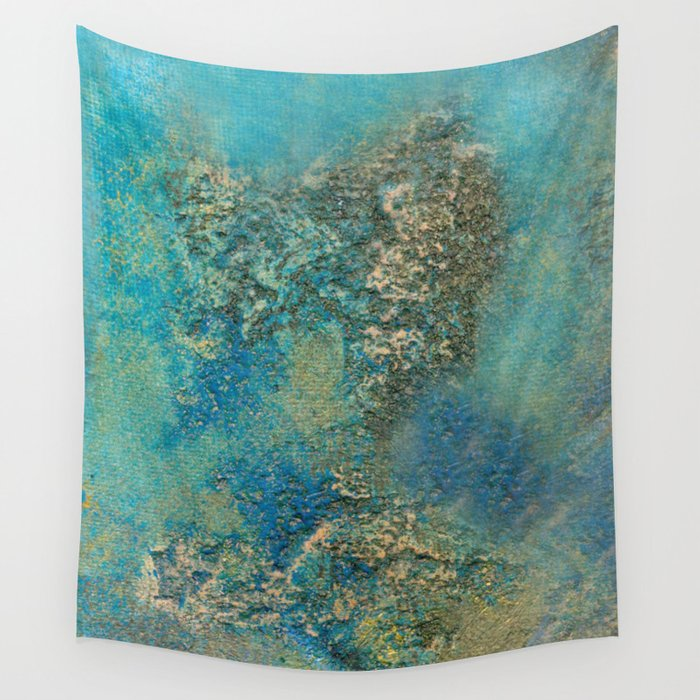 Philip Bowman Blue And Gold Modern Abstract Art Painting Wall Tapestry