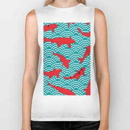 Koi carp. Red fish. black outline sketch doodle. azure teal burgundy maroon Nature oriental backgrou Biker Tank
