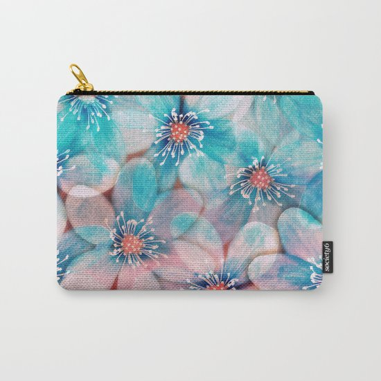 Flowers from Pink to Turquoise Carry-All Pouch