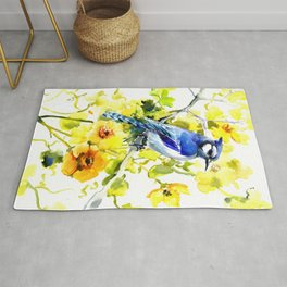 BLue Jay and Yellow Flowers Rug