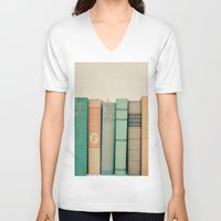literary V-neck T-shirts featuring Literary Gems I by Laura Ruth