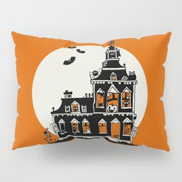 Vintage Style Haunted House - Happy Halloween Pillow Sham