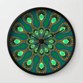 Fractal jewel mandala Wall Clock