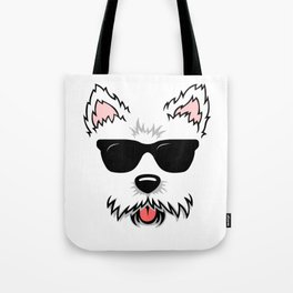 Cute White Terrier Westie Dog Face with Sunglasses for Westie Lovers Tote Bag