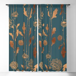 Art Deco Copper Flowers  Blackout Curtain