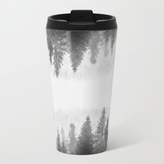 Black and white foggy mirrored forest Travel Mug