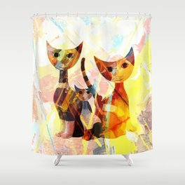 Familie Katze Shower Curtain