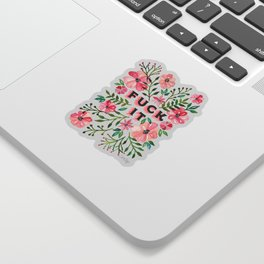 Fuck It – Pink & Green Floral Palette Sticker