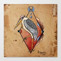"crane Canvas Prints featuring ""CRANE"" by Magdalena Sky - The Moth"