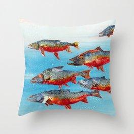 Arctic char - Alcohol Ink Throw Pillow