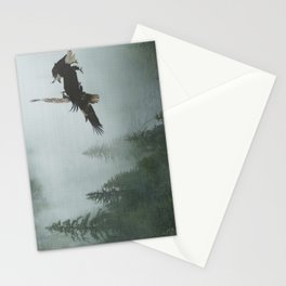 Battle for the Cedars - Bald Eagles Wildlife Scene Stationery Cards