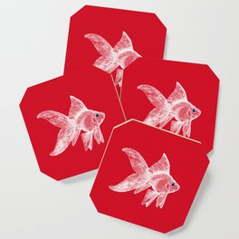 Enigmatic Good Luck Fish, white on red Coaster