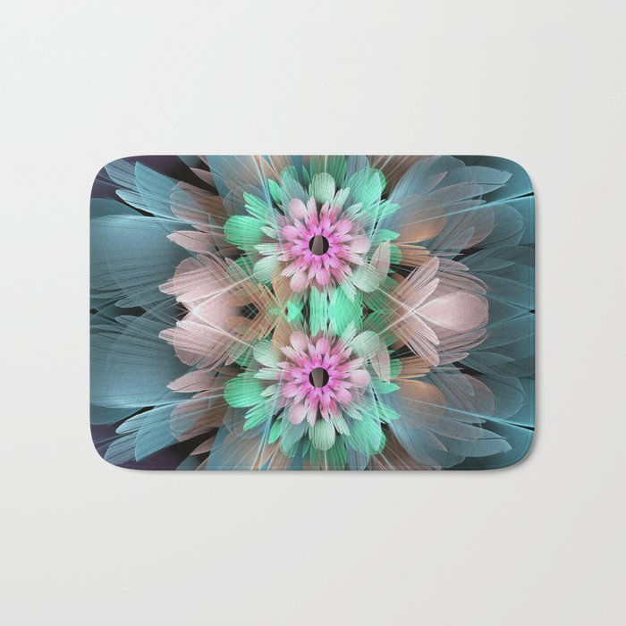 Soft coloured Twin Flowers Bath Mat