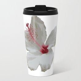 Pure White Hibiscus Tropical Flower Travel Mug